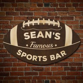 Football Fan Personalized Sports Bar Sign (Signature Series)