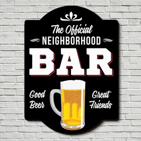 Official Neighborhood Bar Wooden Home Sign