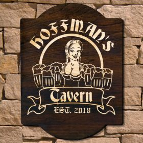 Bombshell Barmaid Custom Wood Bar Sign (Signature Series)