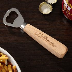 Natural Beechwood Engraved Beer Bottle Opener