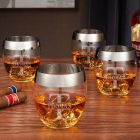 Oakmont Silver Rim Engraved Whiskey Glasses, Set of 4