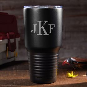 Classic Monogram Personalized Travel Mug - Black