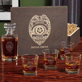 Police Badge Custom Whiskey Glass and Decanter Set