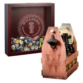 Custom Bottle Cap Brewery Shadow Box and Oakmont Beer Caddy