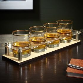 Gold-Rimmed Rocks Glasses and Custom Serving Tray