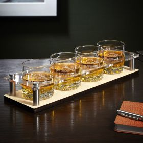 Fremont Whiskey Glasses with Custom Serving Tray 5 pc