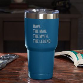 The Man The Myth The Legend Personalized Travel Mug - Blue