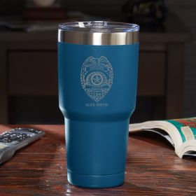 Police Badge Personalized Travel Mug - Blue