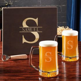 Oakmont Engraved Beer Gift Set with Wooden Box