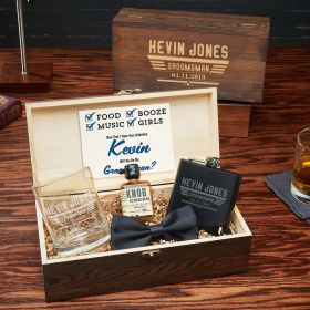 Maverick Customized Groomsmen and Best Man Wood Gift Box Set