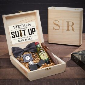 Quinton Personalized Wooden Humidor for Cigar Smokers Groomsmen Gift Set