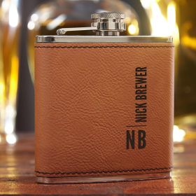 Calvin Saddle Brown Personalized Flask