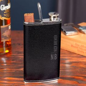 Calvin Black Leather Hip Flask and Cigar Holder