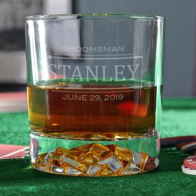 Stanford Engraved Whiskey Glass Unique Groomsmen Gift Idea