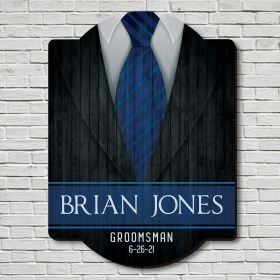 Mens Wedding Suits Personalized Wooden Sign Groomsmen Gift