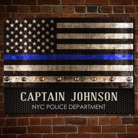 Courage and Honor Thin Blue Line Customized Wooden Sign Police Officer Gift