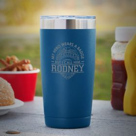 Heroic Police Badge Personalized Blue Tumbler