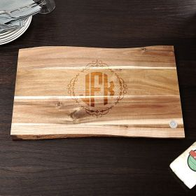 In the Raw Monogrammed Personalized Cutting Board for Weddings