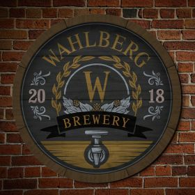 Wooden Keg Personalized Brewery Sign for Beer Lovers