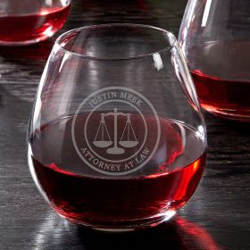 Scales of Justice Engraved Stemless Red Wine Glass for Lawyers