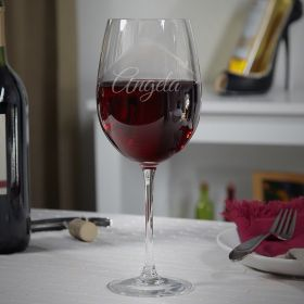 Elegance Etched Wine Glass
