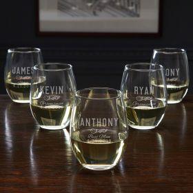 Classic Groomsman Personalized 5 Piece Set - Wedding Party Wine Glasses
