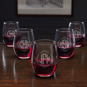 Monogram Stemless Wine Glasses for Bridesmaids - Set of 5
