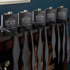 Rockefeller Blackout Groomsmen Flasks - Set of 5