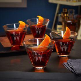 Oakmont Personalized Stemless Martini Glasses – Set of 4