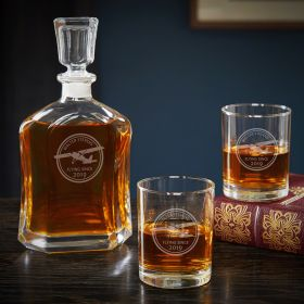 Aviator Engraved Decanter Set with Rocks Glasses – Unique Aviation Gift