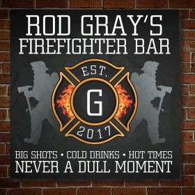 BLACK FINISH COLOR LED FIREMAN FIREHOUSE TAP HANDLE DISPLAY PERSONAL BAR SIGN