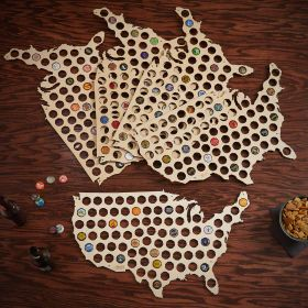 Set of 5 Large USA Beer Cap Maps - Gifts for Groomsmen
