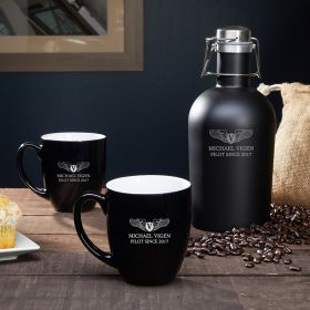 Take Flight Personalized Coffee Set - Aviator Gift