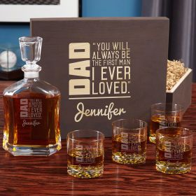 To Dad From Daughter Custom Whiskey Decanter Gift Set for Dad