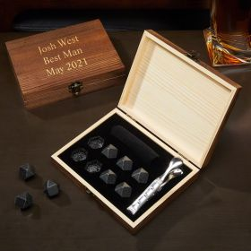 Personalized Black Onyx Whiskey Stones Set