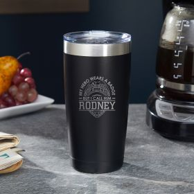 Heroic Police Badge Personalized Coffee Tumbler - Gift for Cops