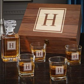 Block Monogram Personalized Whiskey Carson Decanter Set with Square Rocks Glasses