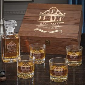 Rockefeller Personalized Whiskey Carson Decanter Set with Fairbanks Glasses
