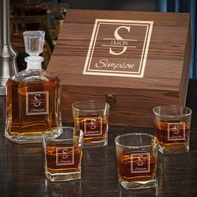 Oakhill Custom Argos Decanter Whiskey Gift Set for Men with Square Rocks Glasses