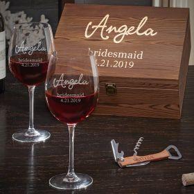 Custom Radiant Bridesmaid Wine Glasses Gift Set