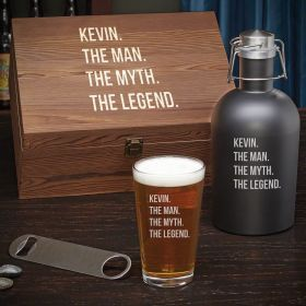 Man Myth Legend Personalized Beer Growler Gift Set for Men