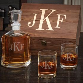 Classic Monogram Personalized Decanter Set
