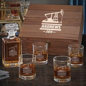 Oilfield Personalized Whiskey Carson Decanter Set with Eastham Glasses - Oilfield Gift