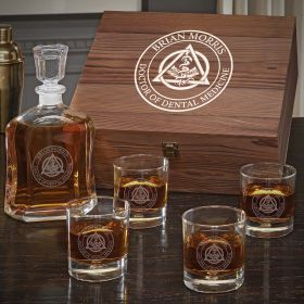 Dental Crest Argos Decanter Personalized Whiskey Set with Bryne Glasses - Gift for Dental Hygienist