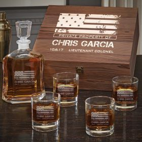 American Heroes Personalized Argos Decanter Box Set with On the Rocks Glasses – Military Gift Idea
