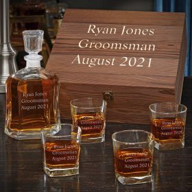 Personalized Argos Whiskey Decanter Set with Square Rocks Glasses