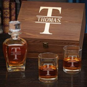 Oakmont Personalized Draper Whiskey Decanter Set with Eastham Glasses