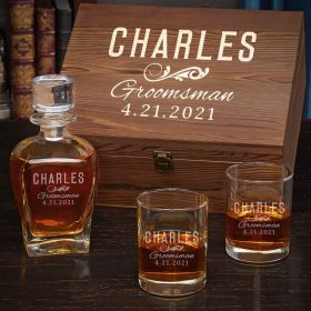 Classic Groomsman Personalized Draper Decanter and Eastham Glasses - Groomsmen Gift