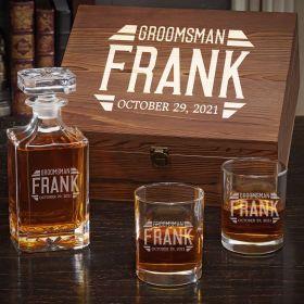 Bradshaw Engraved Carson Decanter & Eastham Glasses Set – Gift for Groomsmen