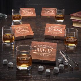 Stanford Custom Set of 5 Whiskey Groomsmen Gifts